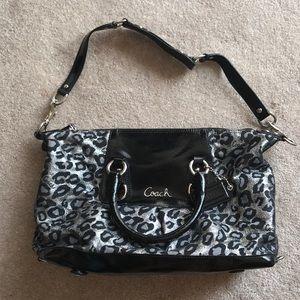 Grey glittery cheetah printed Coach purse